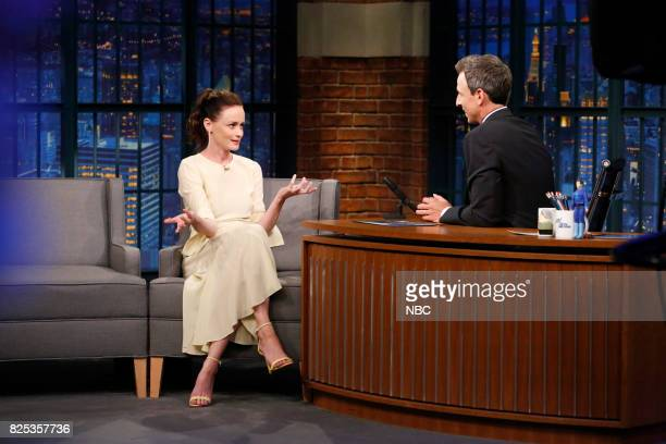 Actress Alexis Bledel talks with host Seth Meyers during an interview on August 1 2017