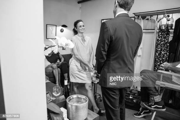 MEYERS Episode 561 Pictured Actress Alexis Bledel talks with host Seth Meyers backstage on August 1 2017