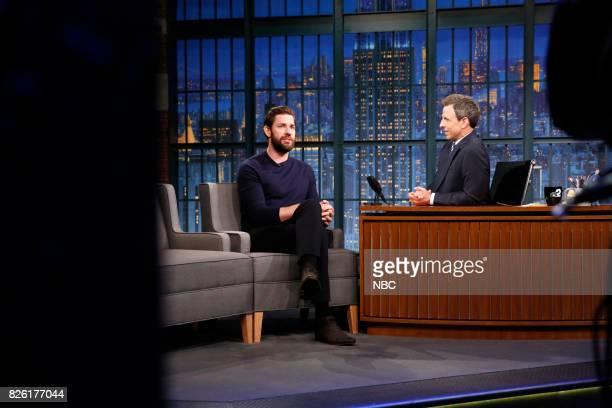 Actor John Krasinski talks with host Seth Meyers during an interview on August 3 2017