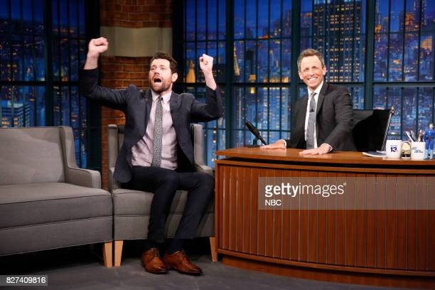Comedian/actor Billy Eichner talks with host Seth Meyers during an interview on August 7 2017