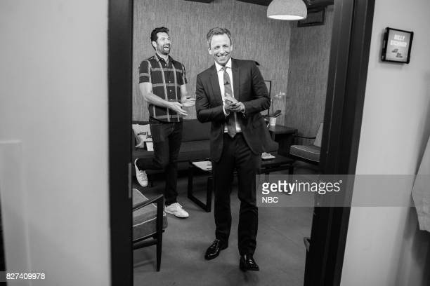 Comedian/actor Billy Eichner talks with host Seth Meyers backstage on August 7 2017