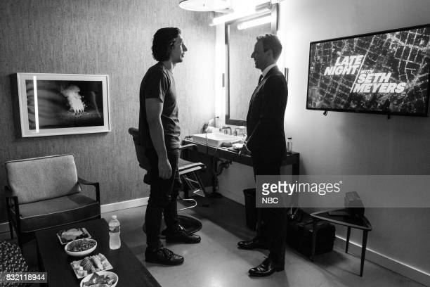MEYERS Episode 569 Pictured Actor Adam Driver talks with host Seth Meyers backstage on August 15 2017