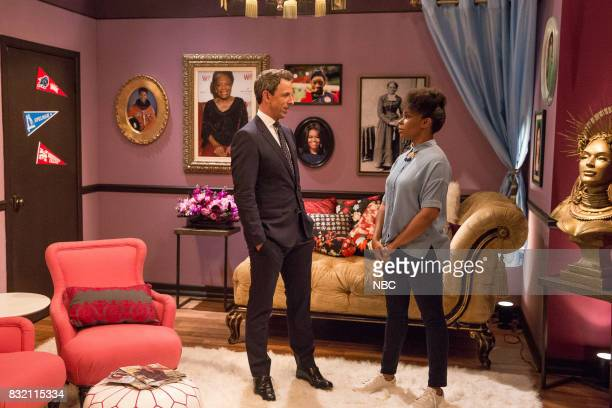 Host Seth Meyers and writer Amber Ruffin during the 'Safe Space' sketch on August 15 2017
