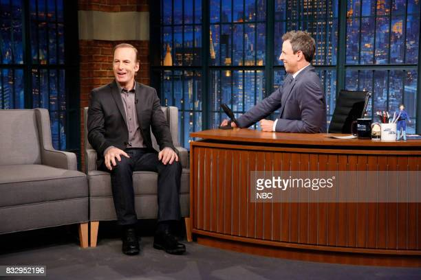 Actor Bob Odenkirk talks with host Seth Meyers during an interview on August 16 2017