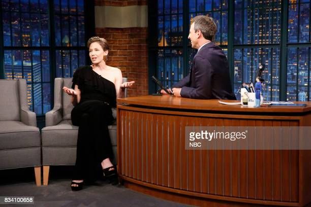 Actress Carrie Coon talks with host Seth Meyers during an interview on August 17 2017