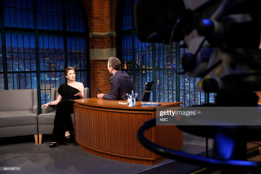 Actress Carrie Coon talks with host Seth Meyers during an interview on August 17, 2017 --
