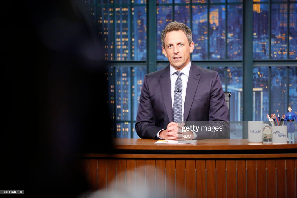 Host Seth Meyers during the monologue on August 17, 2017 --