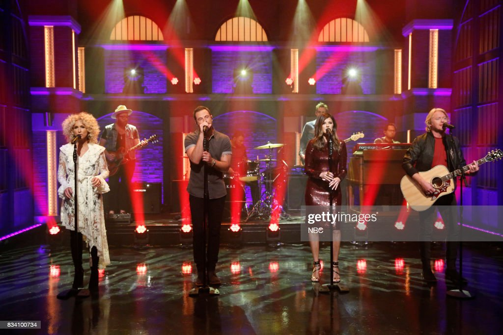 Kimberly Schlapman, Jimi Westbrook, Karen Fairchild and Phillip Sweet of musical guest Little Big Town perform on August 17, 2017 --