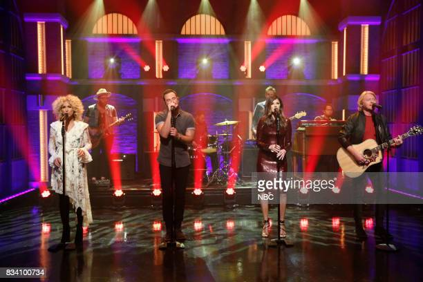Kimberly Schlapman Jimi Westbrook Karen Fairchild and Phillip Sweet of musical guest Little Big Town perform on August 17 2017
