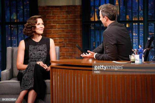 Actress Maggie Gyllenhaal talks with host Seth Meyers during an interview on September 6 2017