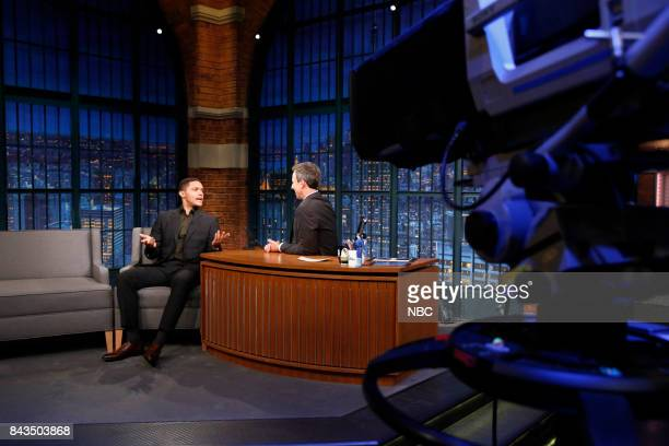 """Host of """"The Daily Show"""" Trevor Noah talks with host Seth Meyers during an interview on September 6 2017"""