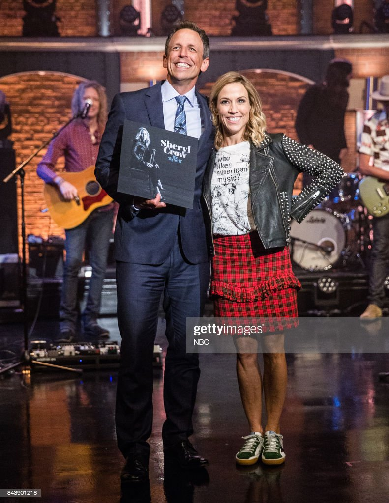 Host Seth Meyers and musical guest Sheryl Crow on September 7, 2017 --