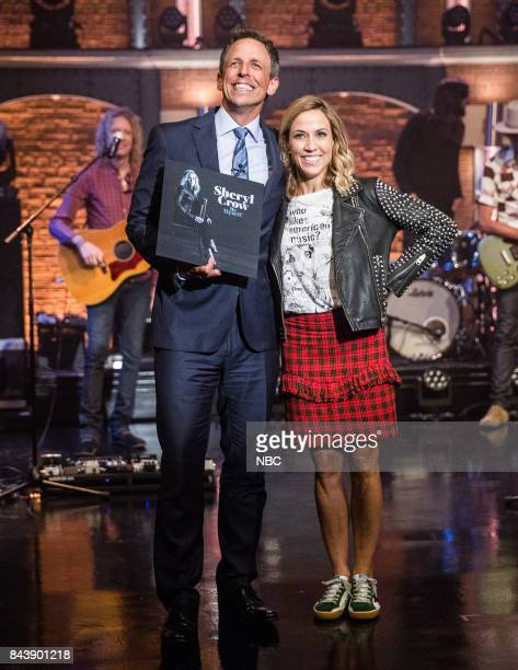 Host Seth Meyers and musical guest Sheryl Crow on September 7 2017