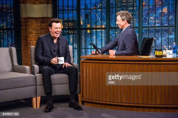 Seth MacFarlane talks with host Seth Meyers during an interview on September 7 2017