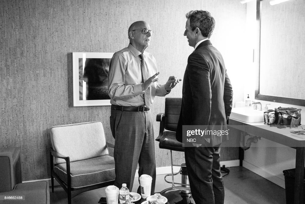 MEYERS -- (EXCLUSIVE COVERAGE) -- Episode 577 -- Pictured: (l-r) Actor Jeffrey Tambor talks with host Seth Meyers backstage on September 13, 2017 --