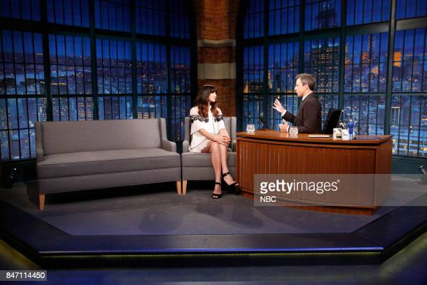 Actress Caitriona Balfe talks with host Seth Meyers during an interview on September 14 2017