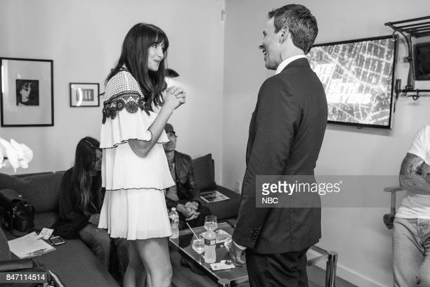 MEYERS Episode 578 Pictured Actress Caitriona Balfe talks with host Seth Meyers backstage on September 14 2017