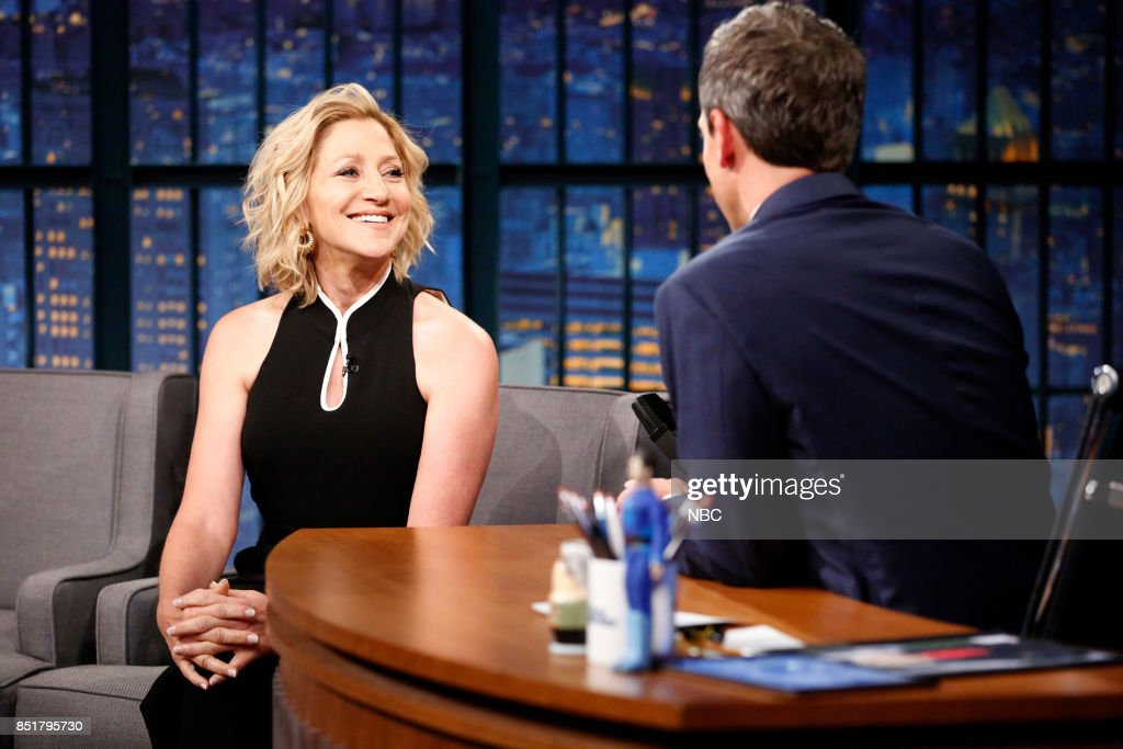 Actress Edie Falco talks with host Seth Meyers during an interview on September 22, 2017 --