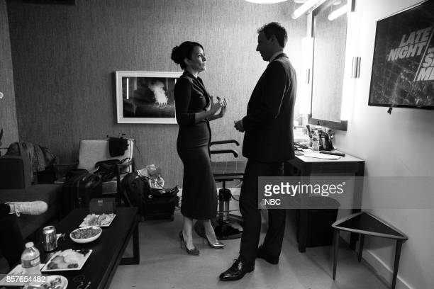MEYERS Episode 589 Pictured Actress Tina Fey talks with host Seth Meyers backstage on October 4 2017