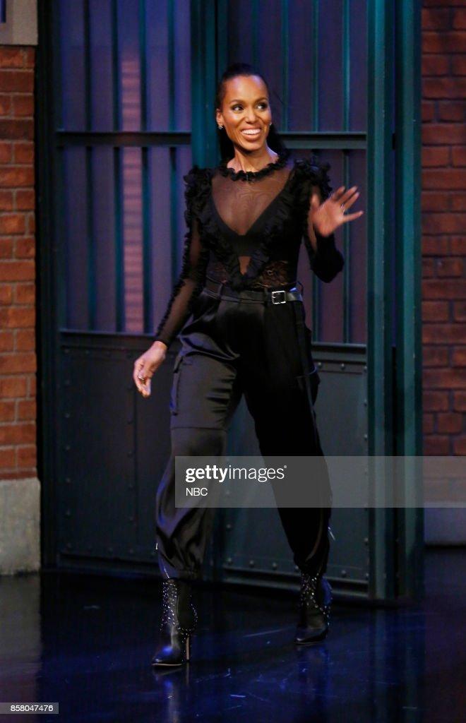 Actress Kerry Washington arrives on October 5, 2017 --