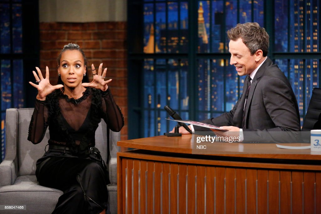 Actress Kerry Washington during an interview with host Seth Meyers on October 5, 2017 --