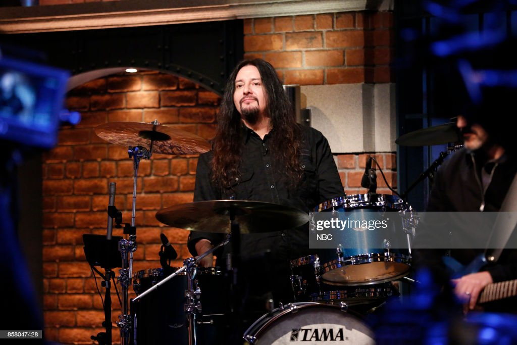 Guest drummer Gene Hoglan performs with The 8G Band on October 5, 2017 --