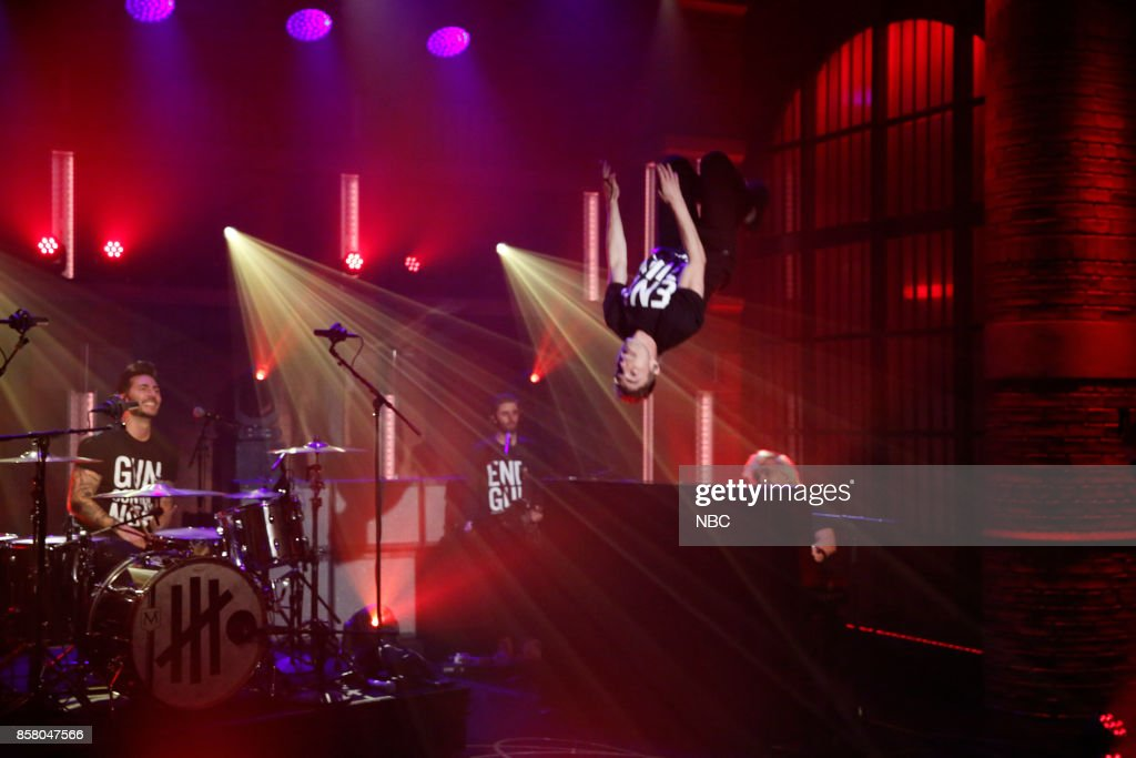 Musical guests David Boyd, Louis Vecchio, Søren Hansen of New Politics perform on October 5, 2017 --