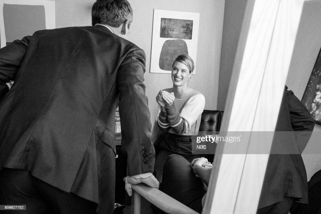 Host Seth Meyers talks with actress Mackenzie Davis on October 9, 2017 --