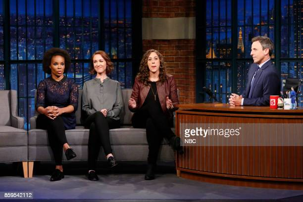 Writers Amber Ruffin Jenny Hagel Ally Hord during a segment with host Seth Meyers on October 9 2017