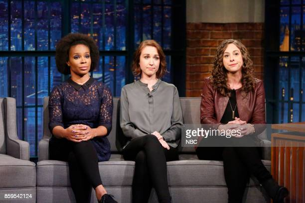 Writers Amber Ruffin Jenny Hagel Ally Hord during a segment on October 9 2017