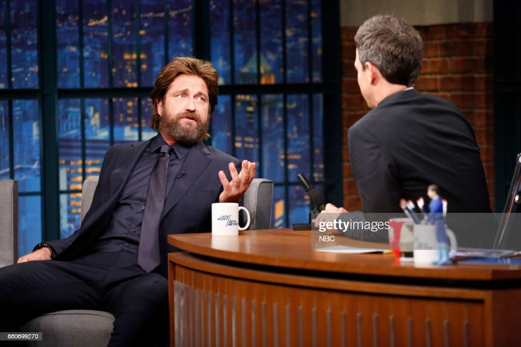 Actor Gerard Butler talks with host Seth Meyers during an interview on October 12, 2017 --