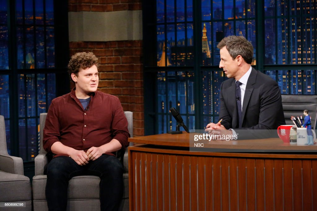 Writer Ben Warheit and host Seth Meyers during the sketch 'Be With Me In Silence' on October 12, 2017 --
