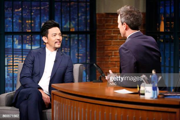 Actor John Cho talks with host Seth Meyers during an interview on October 23 2017