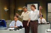 LIVE Episode 6 Air Date Pictured Jeff Richars as an employee Billy Bob Thornton as Mr Burns Jimmy Fallon as Nick Burns during the 'Nick Burns Your...