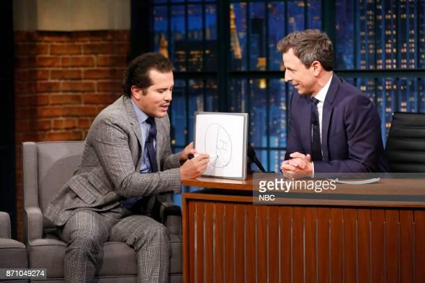 Actor John Leguizamo talks with host Seth Meyers during an interview on November 3 2017