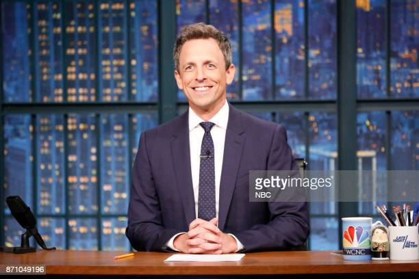 Host Seth Meyers at his desk on November 3 2017