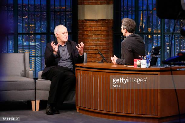 Actor John Lithgow talks with host Seth Meyers during an interview on November 7 2017