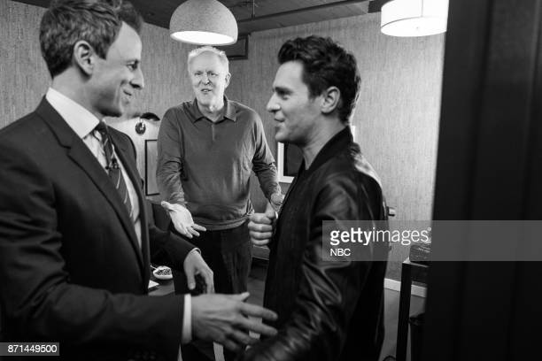 MEYERS Episode 604 Pictured Host Seth Meyers talks with actors John Lithgow and Jonathan Groff backstage on November 7 2017