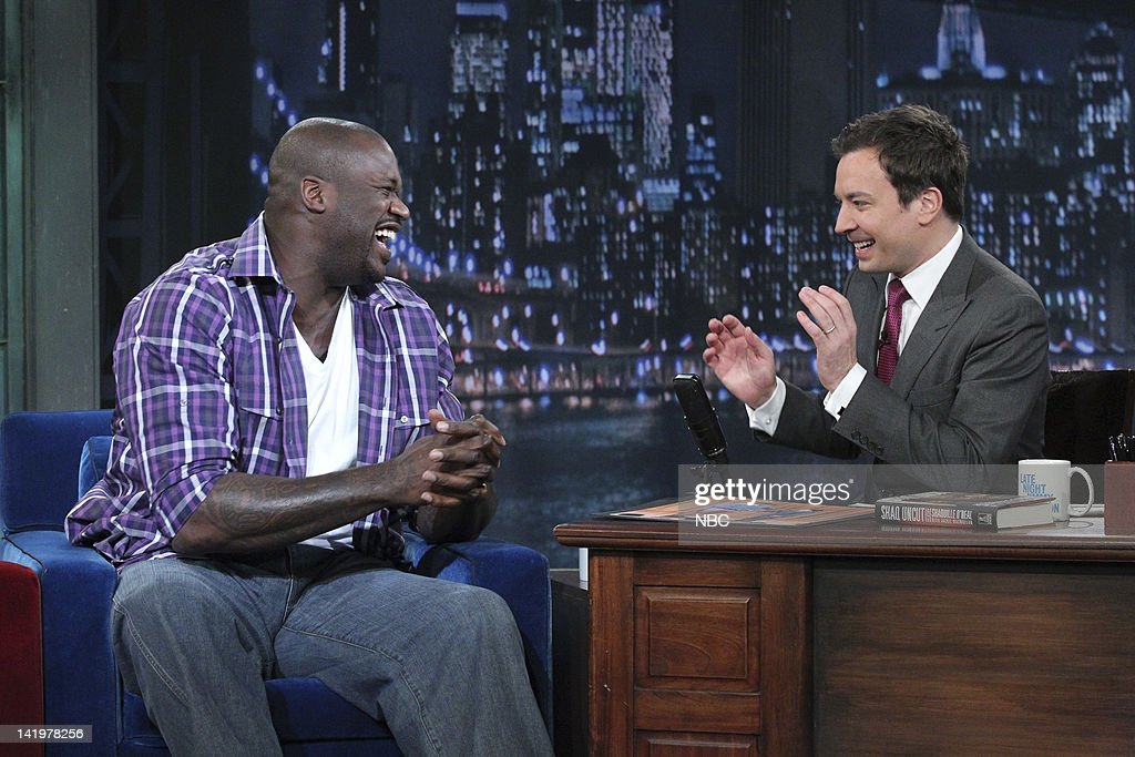 <a gi-track='captionPersonalityLinkClicked' href=/galleries/search?phrase=Shaquille+O%27Neal&family=editorial&specificpeople=201463 ng-click='$event.stopPropagation()'>Shaquille O'Neal</a>, <a gi-track='captionPersonalityLinkClicked' href=/galleries/search?phrase=Jimmy+Fallon&family=editorial&specificpeople=171520 ng-click='$event.stopPropagation()'>Jimmy Fallon</a> --