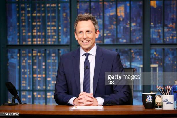 Host Seth Meyers at his desk on November 15 2017