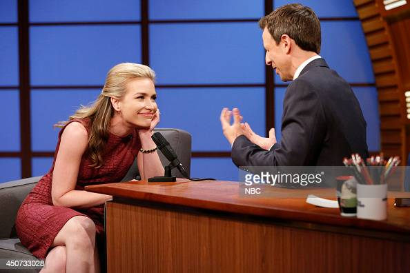 Actress Piper Perabo during an interview with host Seth Meyers on June 16 2014
