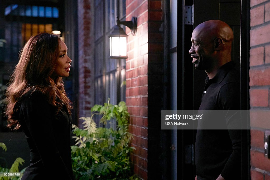 SUITS -- 'P.S.L.' Episode 610 -- Pictured: (l-r) Gina Torres as Jessica Pearson, DB Woodside as Jeff Malone --