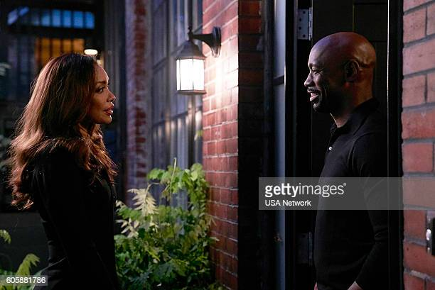 SUITS 'PSL' Episode 610 Pictured Gina Torres as Jessica Pearson DB Woodside as Jeff Malone