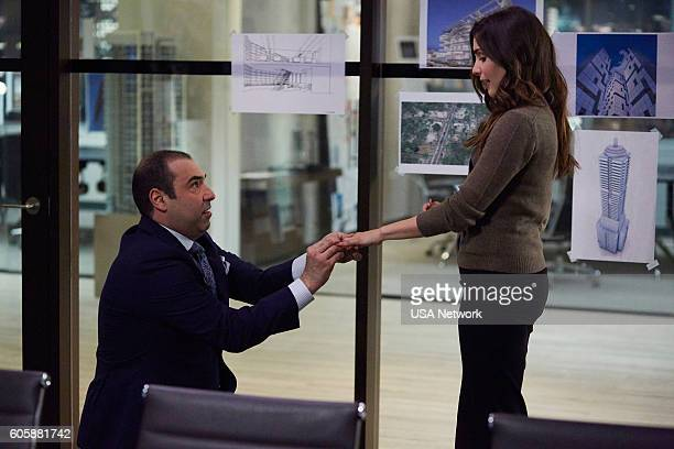 SUITS 'PSL' Episode 610 Pictured Rick Hoffman as Louis Litt Carly Pope as Tara Messer