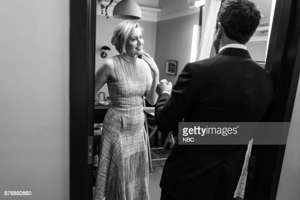 MEYERS Episode 611 Pictured Actress Greta Gerwig talks with host Seth Meyers backstage on November 20 2017