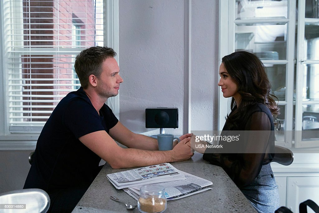 Patrick J. Adams as Micheal Ross, Meghan Markle as Rachel Zane --