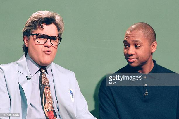 Host Jay Leno and Branford Marsalis during the 'Mr Brain' skit on January 181995