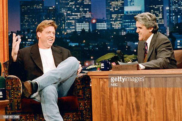 Dallas Cowboys quarterback Troy Aikman during an interview with host Jay Leno on January 24 1995