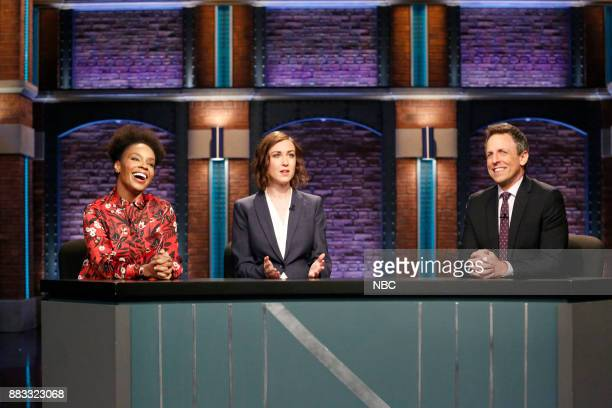 Amber Ruffin Ally Hord and host Seth Meyers during 'Point Counter Point' sketch on November 30 2017