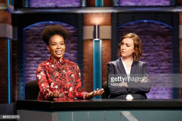Amber Ruffin and Ally Hord during 'Point Counter Point' sketch on November 30 2017